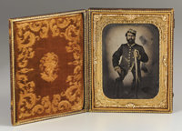 Louisiana Confederate Officer 1/2 Plate Ambrotype. The subject's dark good looks strongly suggest that he is an early wa...