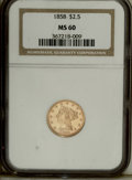 1858 $2 1/2 MS60 NGC. Well struck, save for softness on the eagle's right leg and neck. The bright, brassy surfaces disp...