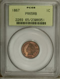 Proof Indian Cents: , 1867 1C PR65 Red and Brown PCGS. Reddish-orange and mahogany surfaces are the hallmark of this Gem, one of an estimated 625...