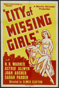 "Movie Posters:Mystery, City of Missing Girls (Select Attractions, 1941). One Sheet (27"" X 41""). Mystery. Starring H.B. Warner, Astrid Allwyn, John ..."