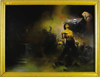 """Ken Kelly - """"Tomb of Deception"""" Painting Original Art (undated). A noble hero -- a fearsome villain -- a foul..."""