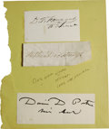 "Autographs:Military Figures, A Group of Three Union Naval Admiral's Signatures including David E. Farragut who signs ""D. E. Farragut Admiral"" on ..."