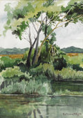 Texas:Early Texas Art - Impressionists, CATHERINE MCKINLEY SMITH (1908-1990). Untitled White Rock LakeScene, 1977. Watercolor. 19in. x 14in.. Signed and dated lowe...