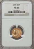 Indian Quarter Eagles: , 1908 $2 1/2 MS66 NGC. NGC Census: (60/3). PCGS Population (99/2).Mintage: 564,800. Numismedia Wsl. Price for problem free ...