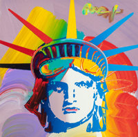 PETER MAX (American, b. 1937) Statue of Liberty Oil on canvas 12 x 12 in. Signed upper right