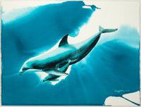 ROBERT WYLAND (American, b. 1956) Hawaiian Dolphins, 1989 Watercolor on paper 30 x 40 in. (sight)