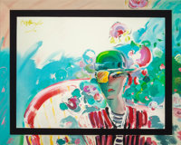 PETER MAX (American, b. 1937) Zero's Girlfriend Oil on paper 34.75 x 43.75 in. (sight) Signed