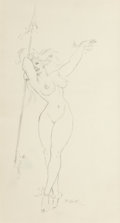 "Pulp, Pulp-like, Digests, and Paperback Art, ROY G. KRENKEL (American, 1918-1983). Sketch of a Nude ""WarriorBabe"". Pencil on paper. 12.375 x 6.625 in. (sight). Init..."