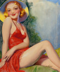 Pin-up and Glamour Art, HUGH JOSEPH WARD (American, 1909-1945). Perfect 36!, TattleTales pulp cover, June 1937. Oil on canvas. 22.5 x 18.75 in....