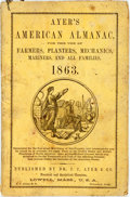 Books:Americana & American History, [Almanac]. Ayer's American Almanac. Lowell, J.C. Ayer,[1863]. Twelvemo. Publisher's printed wrappers. Some foxing, ...
