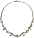Estate Jewelry:Necklaces, Gilbert Albert Diamond, Freshwater Cultured Pearl, White GoldNecklace. ...
