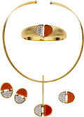 Estate Jewelry:Suites, Diamond, Coral, Gold Jewelry. ... (Total: 4 Items)