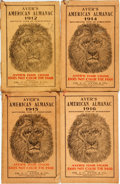Books:Americana & American History, [Almanac]. Group of Four Copies of Ayer's American Almanac.Lowell, J.C. Ayer, [1912-1916]. Twelvemos. Publisher's p... (Total:4 Items)