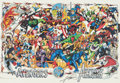 Memorabilia:Poster, Avengers 30th Anniversary Poster Signed by George Perez withStickered Tube (Marvel, 1994).... (Total: 2 Items)