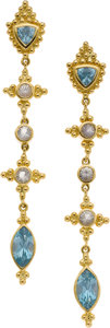 Estate Jewelry:Earrings, Paula Crevoshay Zircon, Moonstone, Gold Earrings. ...