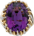 Estate Jewelry:Rings, Piranesi Amethyst, Diamond, Gold Ring. ...