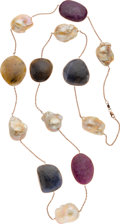 Estate Jewelry:Necklaces, Ruby, Sapphire, Freshwater Cultured Pearl, Gold Necklace. ...