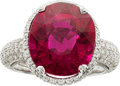 Estate Jewelry:Rings, Piranesi Rubellite, Diamond, Platinum Ring. ...