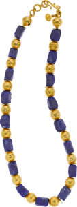 Estate Jewelry:Necklaces, ARA Collection Lapis Lazuli, Gold Necklace. ...