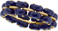Estate Jewelry:Bracelets, Lapis Lazuli, Diamond, Gold Bracelet. ...