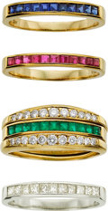 Estate Jewelry:Rings, Barnett Robinson Diamond, Multi-Stone, Platinum, Gold Rings. ...(Total: 4 Items)