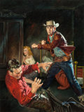 Pulp, Pulp-like, Digests, and Paperback Art, GEORGE GROSS (American, 1909-2003). Outlaw Fury, paperbackcover, 1952. Oil on board. 16 x 12 in. (sight). Signed lower... (Total: 2 Items)