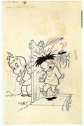 Original Comic Art:Covers, Warren Kremer - Playful Little Audrey #81 Cover Original Art(Harvey, 1969). Poor Melvin gets the short (and scary) end of L...