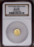 California Fractional Gold: , 1872 50C Indian Round 50 Cents, BG-1048, Low R.4, MS65 ProoflikeNGC. PCGS Population (7/0). (#10877)...