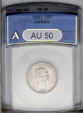 Coins of Hawaii: , 1883 25C Hawaii Quarter AU50 ANACS. NGC Census: (7/507). PCGSPopulation (22/956). Mintage: 500,000. (#10987)...