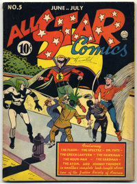 All Star Comics #5 (DC, 1941) Condition: Qualified VG/FN. First appearance of Shiera Sanders as Hawkgirl (the first cost...