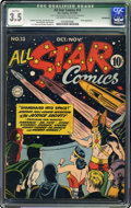 Golden Age (1938-1955):Superhero, All Star Comics #13 (DC, 1942) CGC Qualified VG- 3.5 Off-white to white pages. Hitler appearance. Jack Burnley cover. Burnle...