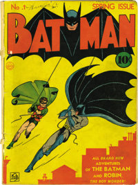 Batman #1 (DC, 1940) Condition: PR. One of the delights of this original-owner collection is that the Batman run starts...