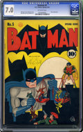 Golden Age (1938-1955):Superhero, Batman #5 (DC, 1941) CGC FN/VF 7.0 Off-white pages. The Batmobile is the most famous vehicle in all of comics, and that dist...