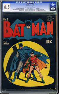 Batman #9 (DC, 1942) CGC FN+ 6.5 Off-white to white pages. We would take this copy over a couple of higher-graded copies...