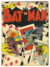 """Batman #11 (DC, 1942) Condition: FR. Classic Joker """"playing card"""" cover by Fred Ray and Jerry Robinson. The fr..."""