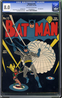Batman #13 (DC, 1942) CGC VF 8.0 Off-white to white pages. This new collection seems to have all of those black-cover Ba...