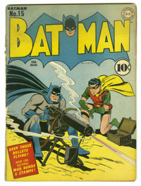 Batman #15 (DC, 1943) Condition: GD. New costume for Catwoman. Jack Burnley cover. Bob Kane and Jerry Robinson art. Mult...