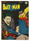 Golden Age (1938-1955):Superhero, Batman #23 (DC, 1944) Condition: GD-. Classic Joker cover. Dick Sprang cover and art. Approximately 4/5 of spine is split. O...