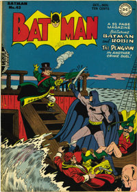 Batman #43 (DC, 1947) Condition: VF+. While this copy couldn't be encapsulated by CGC because of an overhang, it's one o...