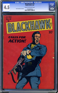 Blackhawk #19 (Quality, 1948) CGC VG+ 4.5 Cream to off-white pages. Reed Crandall cover and art. Overstreet 2006 VG 4.0...