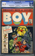 Golden Age (1938-1955):Crime, Boy Comics #6 (Lev Gleason, 1942) CGC FN+ 6.5 Cream to off-white pages. This is the first time the fearsome Iron Jaw appeare...