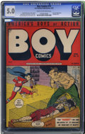 Golden Age (1938-1955):War, Boy Comics #15 (Lev Gleason, 1944) CGC VG/FN 5.0 Cream to off-whitepages. Death of Iron Jaw. Bondage cover by Charles Biro....