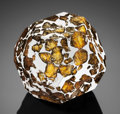 Meteorites:Palasites, SEYMCHAN GEODESIC PAPERWEIGHT - A CUT AND FASHIONED PRESENTATION OFTHE MOST BEAUTIFUL EXTRATERRESTRIAL SUBSTANCE KNOWN . ...