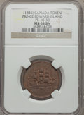 Canada:Prince Edward Island, Canada: Prince Edward Island. Ships Colonies & Commerce TokenND (1835) MS63 Brown NGC,...