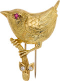 Estate Jewelry:Brooches - Pins, Cartier Diamond, Ruby, Gold Brooch. ...