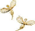 Estate Jewelry:Brooches - Pins, Van Cleef & Arpels Diamond, Sapphire, Gold Brooches. ...