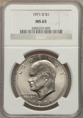 Eisenhower Dollars: , 1971-D $1 MS65 NGC. NGC Census: (1273/645). PCGS Population (3133/926). Mintage: 68,587,424. Numismedia Wsl. Price for prob...