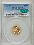 Commemorative Gold: , 1915-S G$1 Panama-Pacific Gold Dollar MS65 PCGS. CAC. PCGSPopulation (1203/816). NGC Census: (763/657). Mintage: 15,000. N...