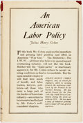 Books:Business & Economics, Julius Henry Cohen. An American Labor Policy. New York:Macmillan, 1920. Later printing. Twelvemo. Publisher's cloth...