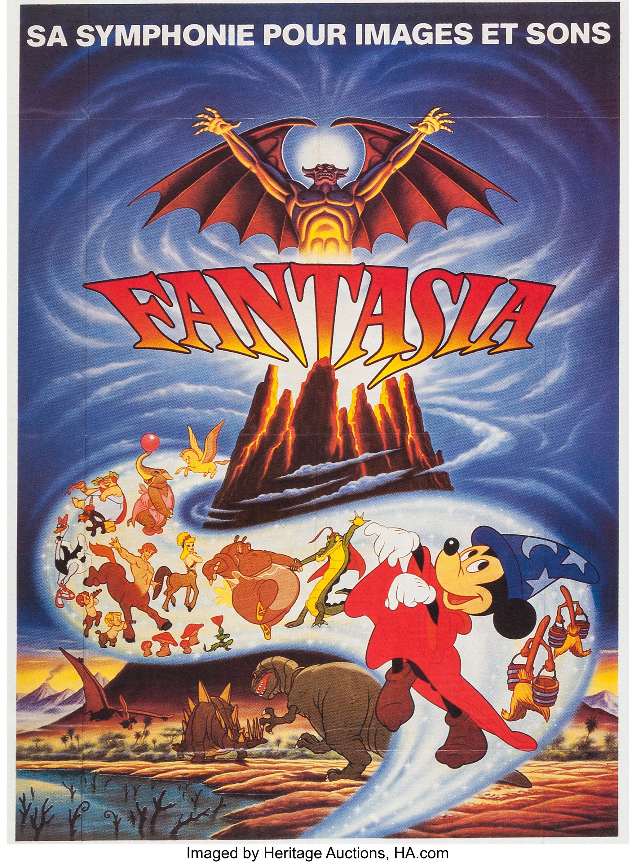 Fantasia Mickey Mouse French Re Release Movie Poster Walt Disney Lot 14704 Heritage Auctions